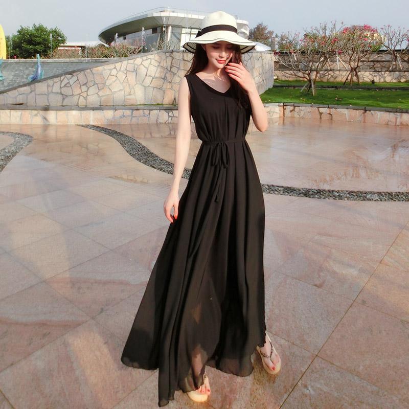 海边v沙滩沙滩裙2018夏无袖显瘦宽松裙摆连衣裙大码超大长裙黑色