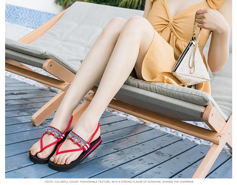 dép màu đỏ ròng và dép Waichuan thời trang hoang dã nữ gió quốc gia dép phẳng trượt dép bãi biển nghỉ mát