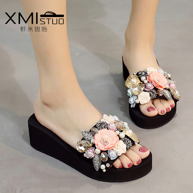 6c0898eacf1b0 Pearl flower slippers female summer fashion wear thick bottom sandals  non-slip beach shoes female word drag beach sandals