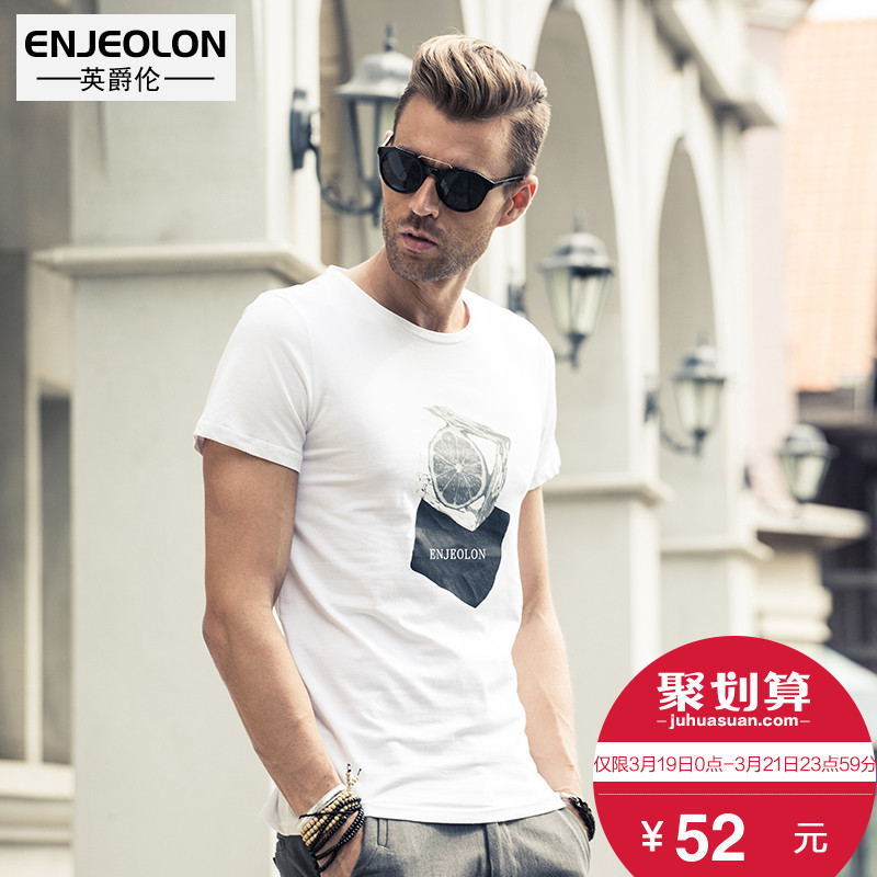 British Jenn Allen new summer short-sleeved T-Shirt Europe and America fashion Round neck Short Sleeve men's pattern print T-Shirt tide half sleeve
