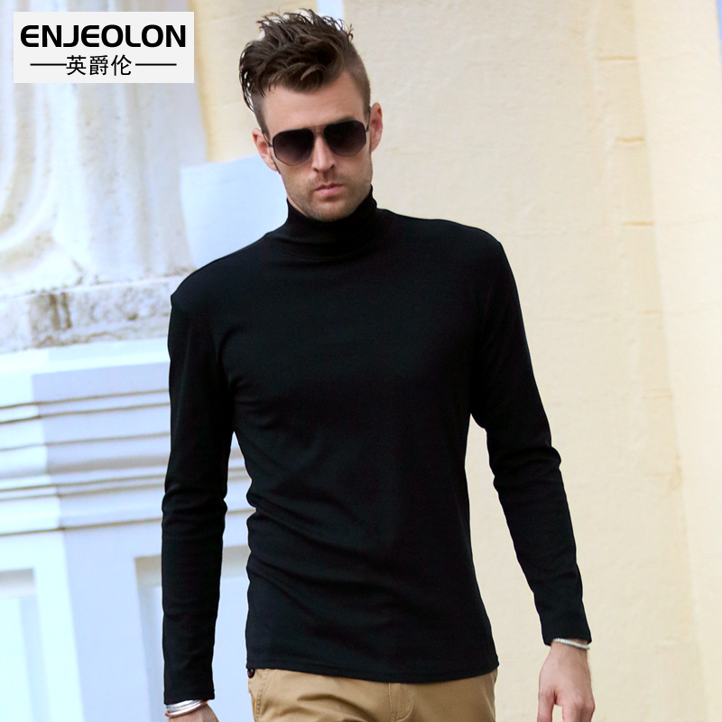 British Jenn Allen autumn / winter new products men's long sleeve pullover high collar T-Shirt pure color slim fit bottoming shirt autumn tide