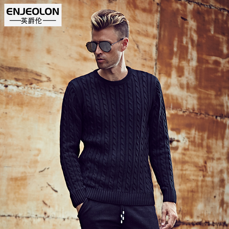 British Jenn Allen autumn and winter men's thick twist pullover temperament sweater solid color simple knit jacquard youth line of clothing