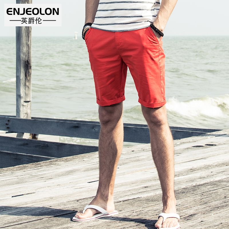 British Summer casual Pants men shorts men simple youth straight tube Five points trousers Pure color Breeches 5 points