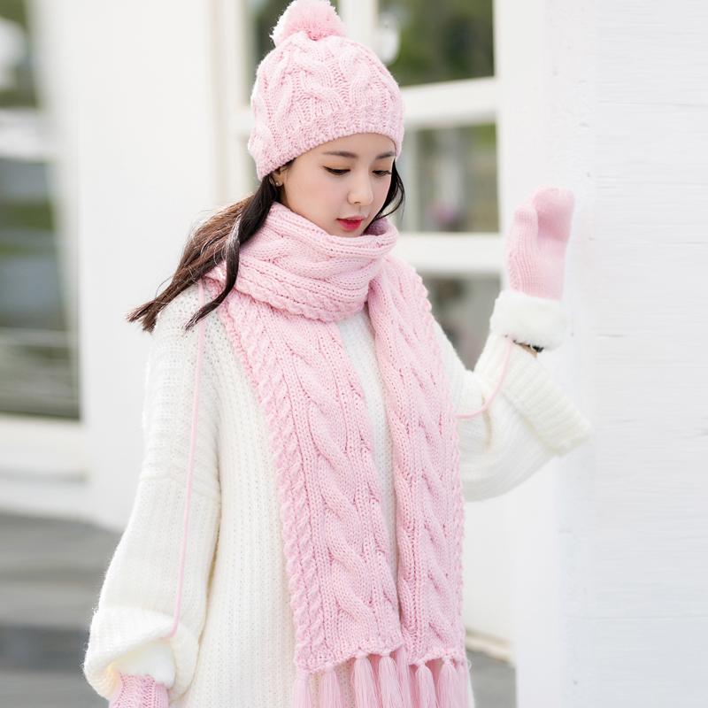 Siggi шарф перчатки женщина зима корейская волна твердый милый три образца с дополнительным слоем пуха сохраняющий тепло более толстые костюм