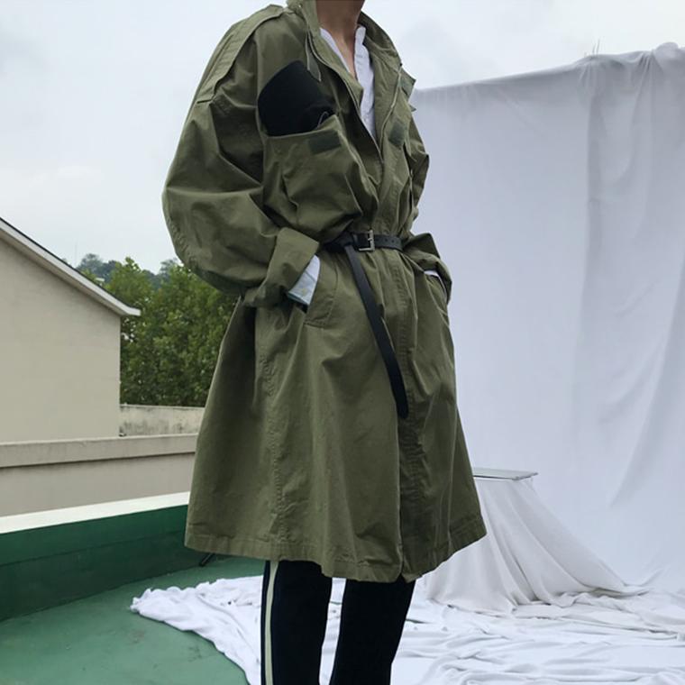 东大门韩国男装代购卡扣防风立领大码宽松中长款工装户外风衣外套