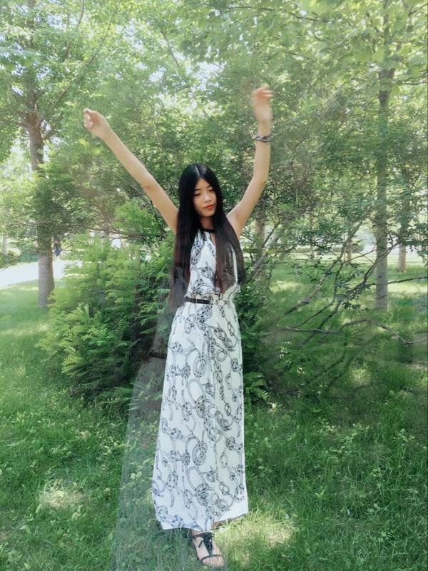 [4.5折清仓]ONLY夏装印花修身雪纺长款连衣裙女|115207084