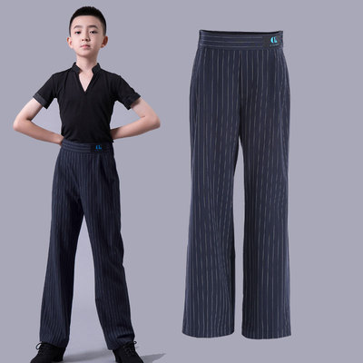 Boys latin dance pants Boys national standard Latin dance pants high stripe suit pants children dance performance straight pants