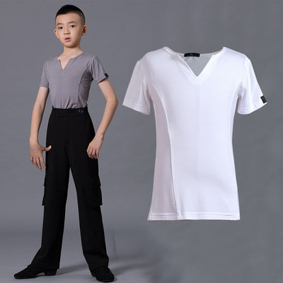 Boys latin dance shirt Boys Latin Dance Top summer short sleeve children big children black and white gray body dance training T-shirt