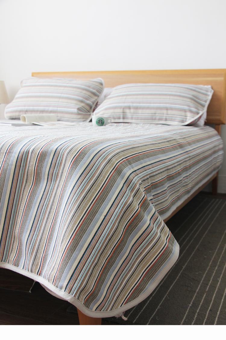 处理库存!老粗布凉席三件套加厚。床单空调席双人床条纹吸汗透气