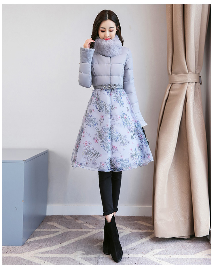 Deep degree of 2018 winter clothing new large size women's autumn and winter mid-length slim cotton clothing jacket 726 48 Online shopping Bangladesh