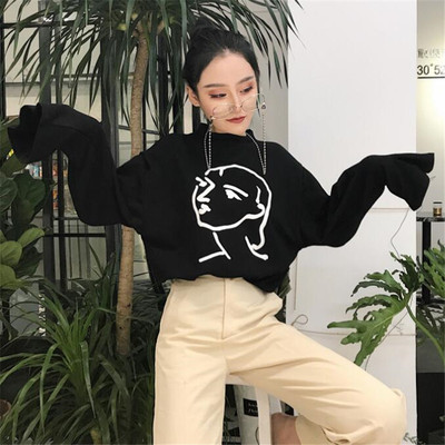 Autumn and winter women's new Hong Kong flavor printing round neck sweater women students loose wild chic wind long sleeve shirt tide