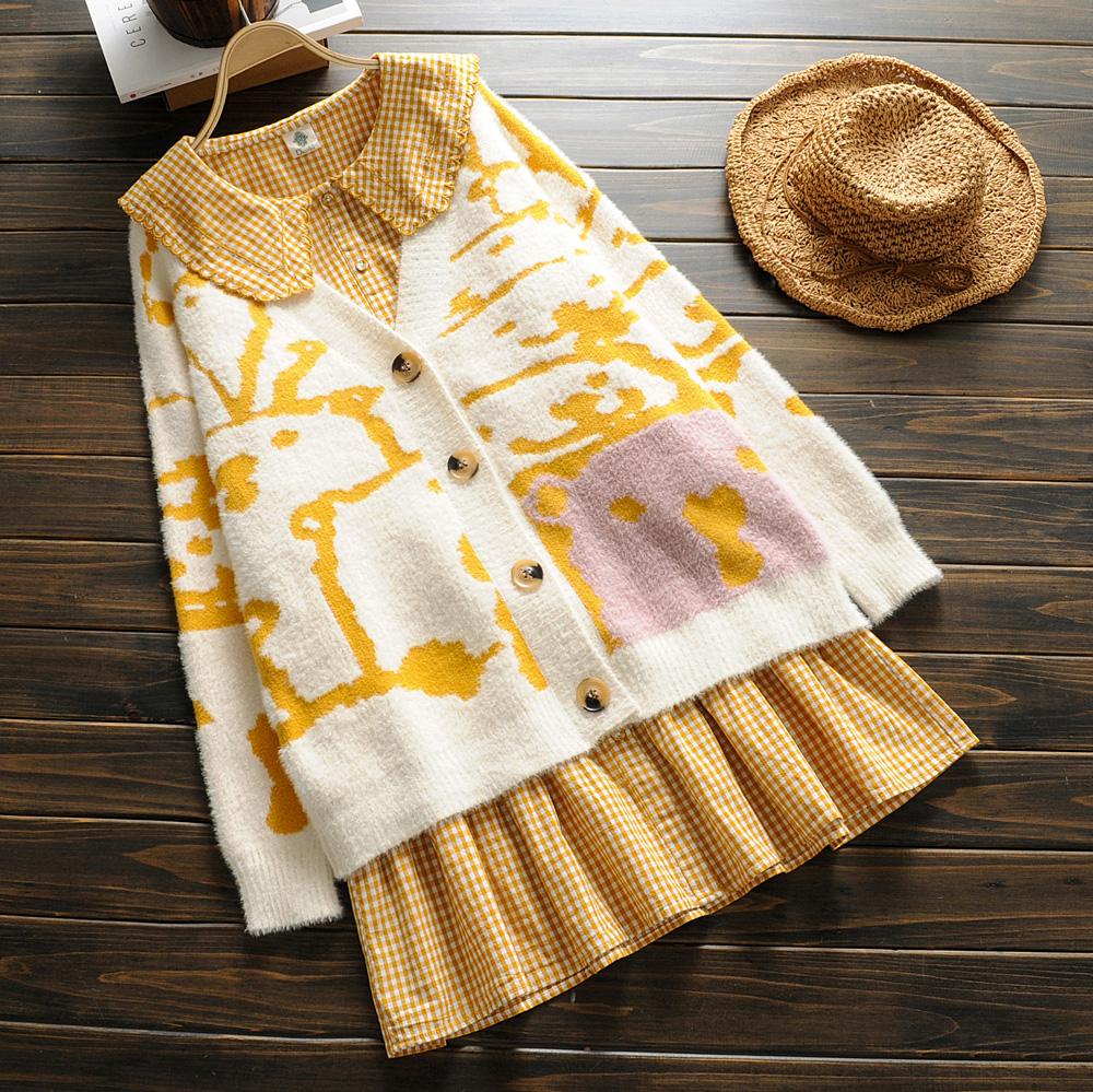 孕妇装秋装加厚开衫连衣裙套装宽松时尚秋冬季毛衣外套上衣两件套