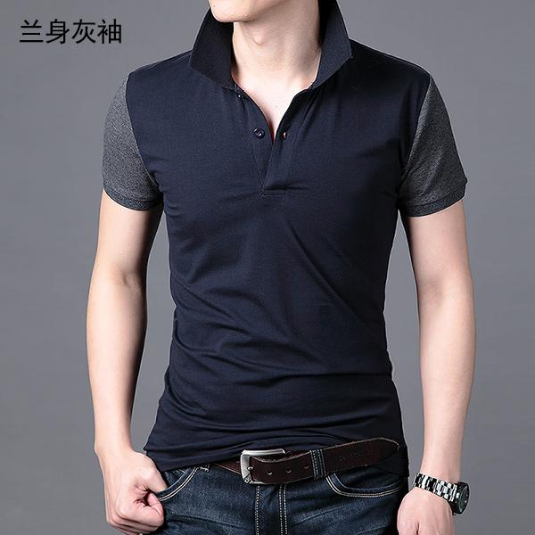 2018 new solid color nam ngắn tay T-Shirt nam đáy áo Hàn Quốc phiên bản của tự trồng bông ve áo polo áo sơ mi nam kích thước lớn áo thun nam polo