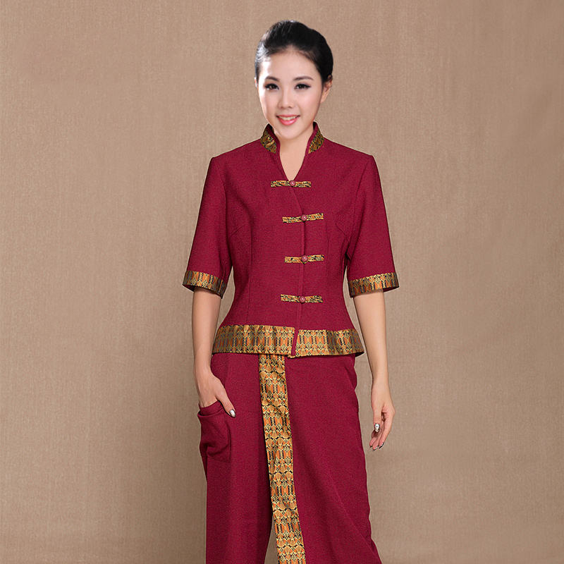 Thai spa beauty salon breathable comfortable overalls suit for Uniform thai spa