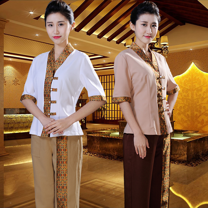 Thai spa beauty salon overalls set beautician workwear for Spa uniform europe