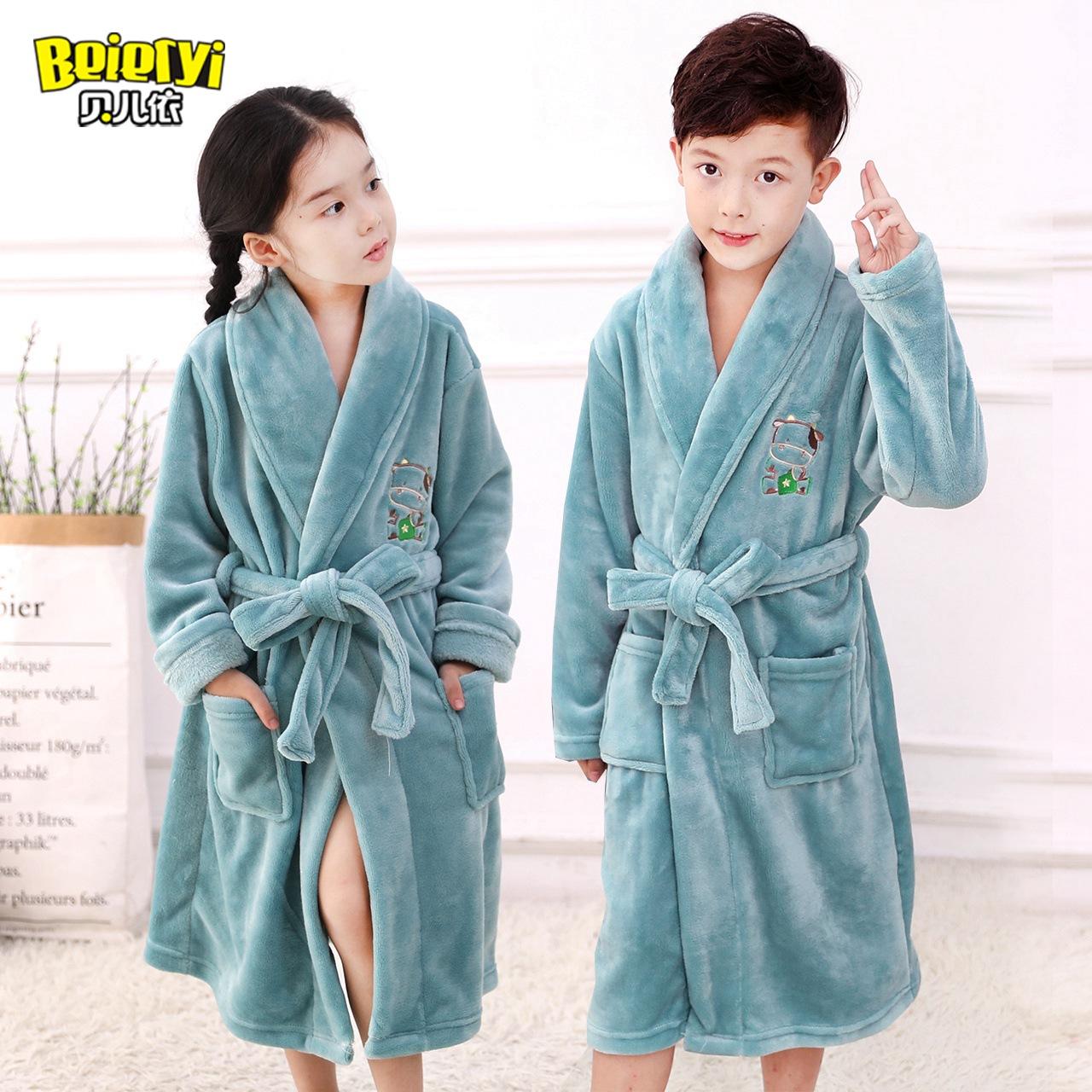 男孩冬季浴袍法兰绒睡衣睡袍珊瑚加厚女童宝宝儿童童装男童家居服