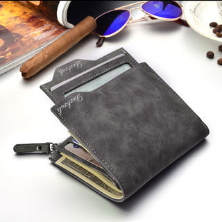 Retro wallet male short vertical section Korean student personality zipper wallet multifunctional men's driver's license wallet one