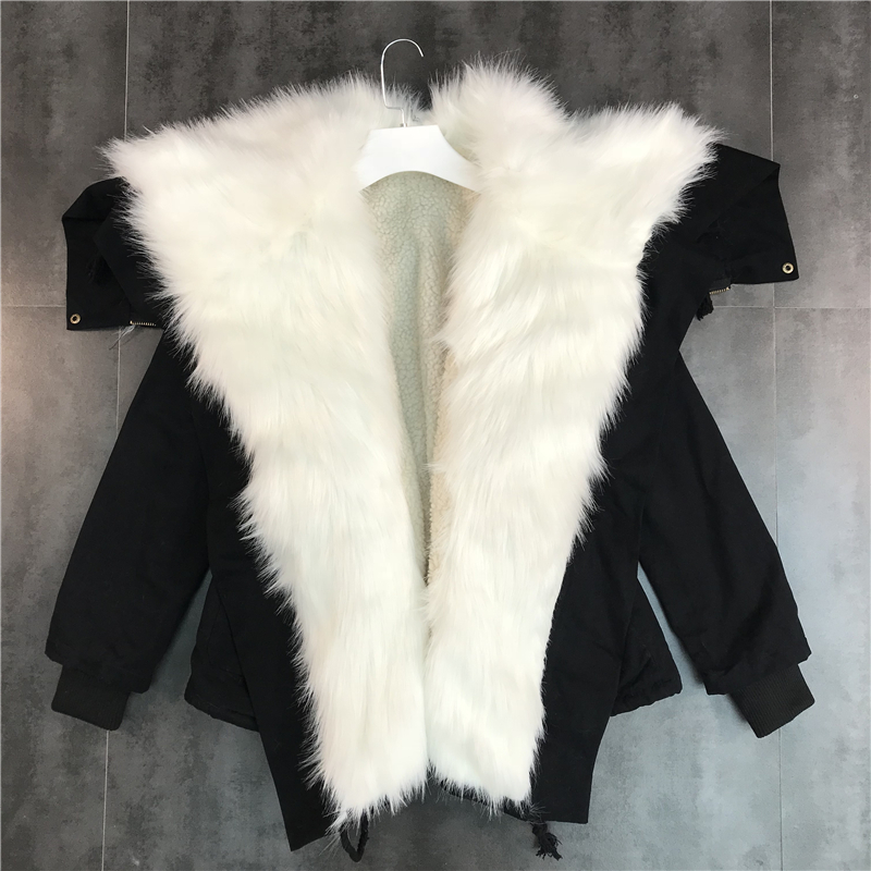 Чистый красный в этом же моделье 2019 новый зимний осенний белоснежный меховым воротником молния закрытый в шерсть теплый щука пальто пальто 605012290273