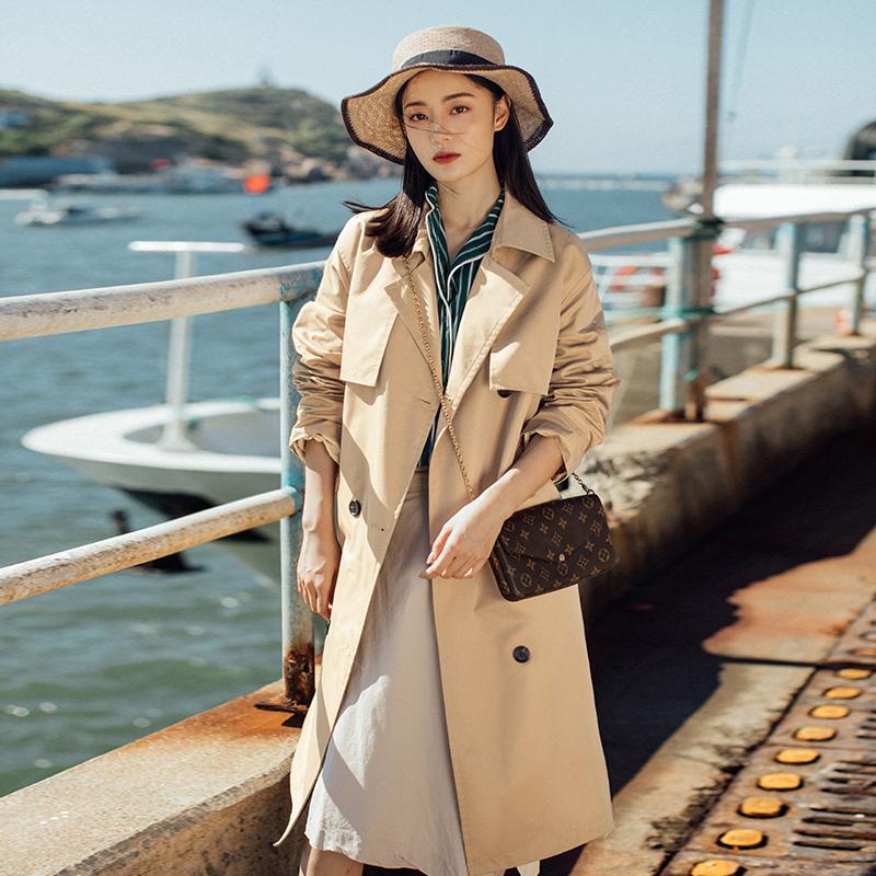 2019初秋新款韩版小个子风衣女中长款外套工装卡其色百搭过膝气质