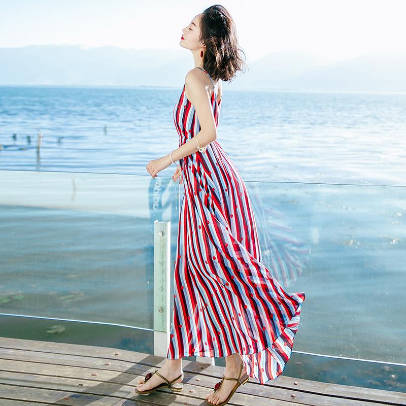 2018新款沙滩裙夏装吊带裙外穿气质雪纺连衣裙红色显瘦长裙子女装