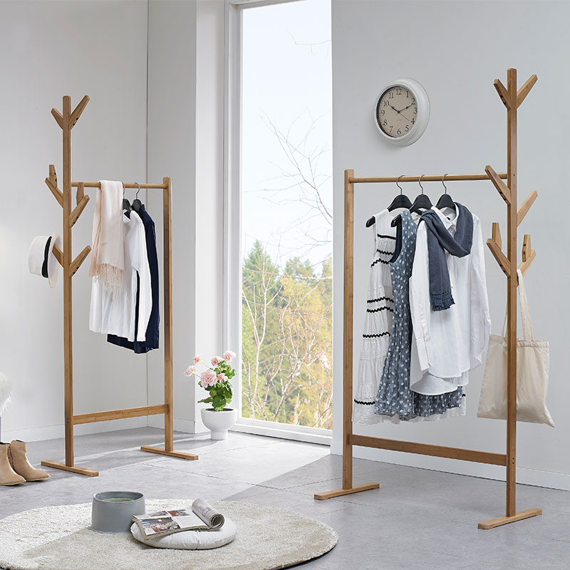 USD 29.56] RUICHANG solid wood coat rack floor bedroom ...