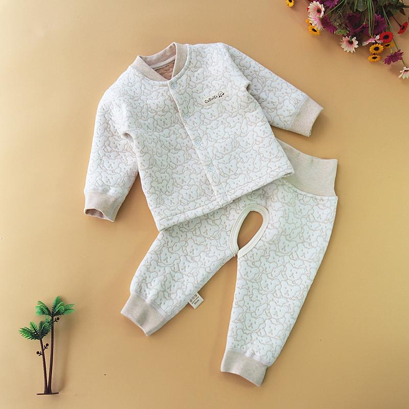 新生a新生衣婴儿秋冬宝宝内衣套装夹棉加厚衣服纯棉儿童高腰开裆