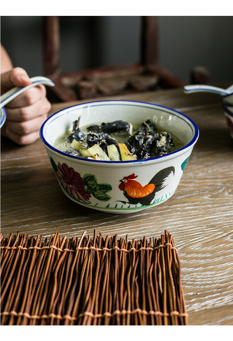 Retro nostalgia Chinese ceramic rooster large to thicken the soup bowl noodles bowl restaurant use ltd. ceramic tableware