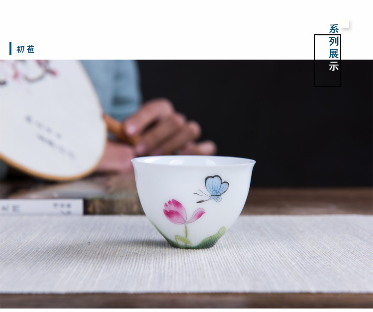 Poly real view jingdezhen sample tea cup under high temperature and hand - made glaze enamel lotus tea them thin body, egg cup small tea cups