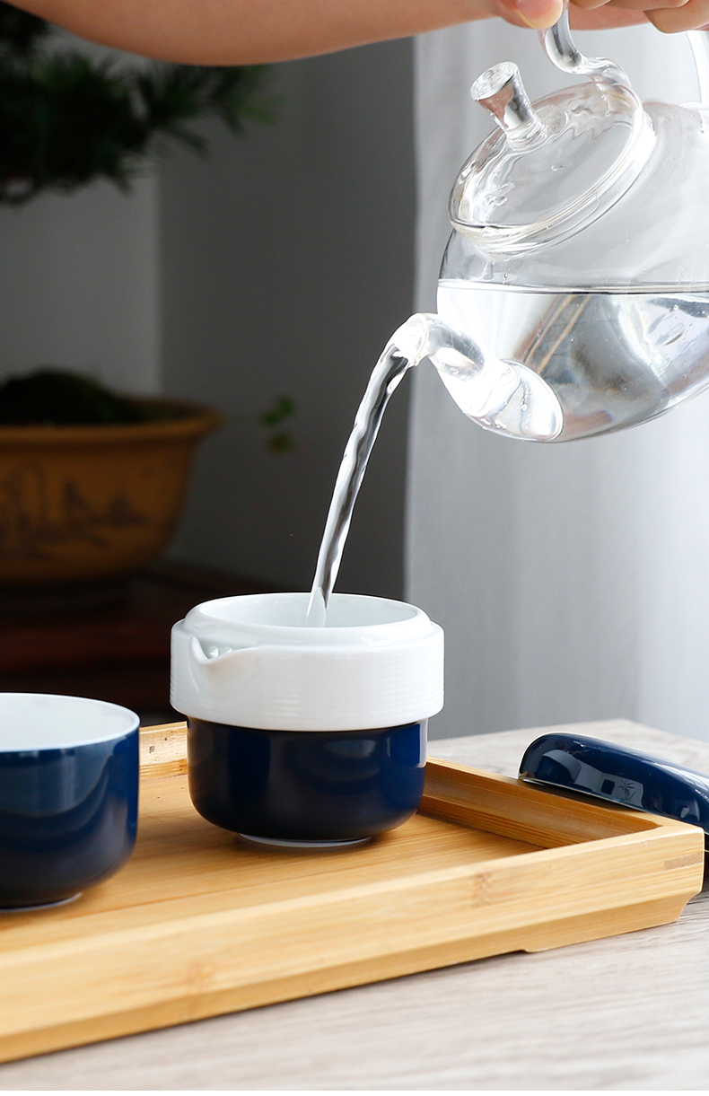 The Poly real boutique scene. Crack cup of jingdezhen ceramic cups tea sets travel a pot of two cups of tea pot of TZ