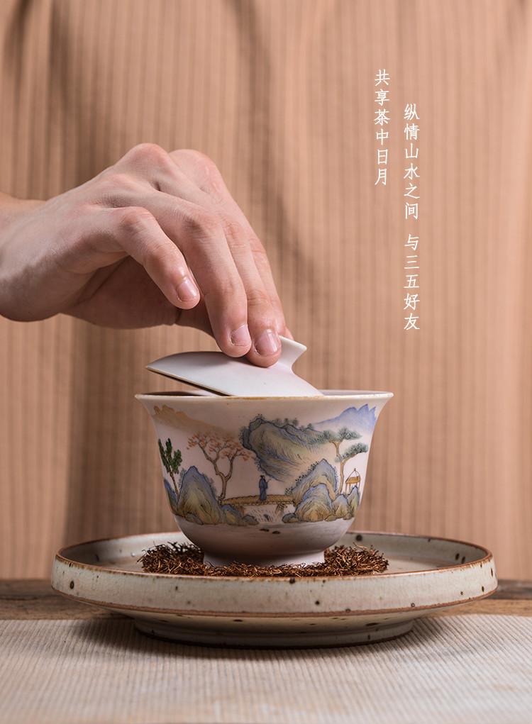 。聚景柴烧手绘青绿山水手抓三才盖碗景德镇文人陶瓷粗陶窑变手工