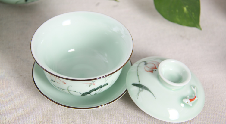 Only three individual high - end tea sets tea tureen blue and white porcelain cups hand - made lotus not hot jingdezhen ceramics