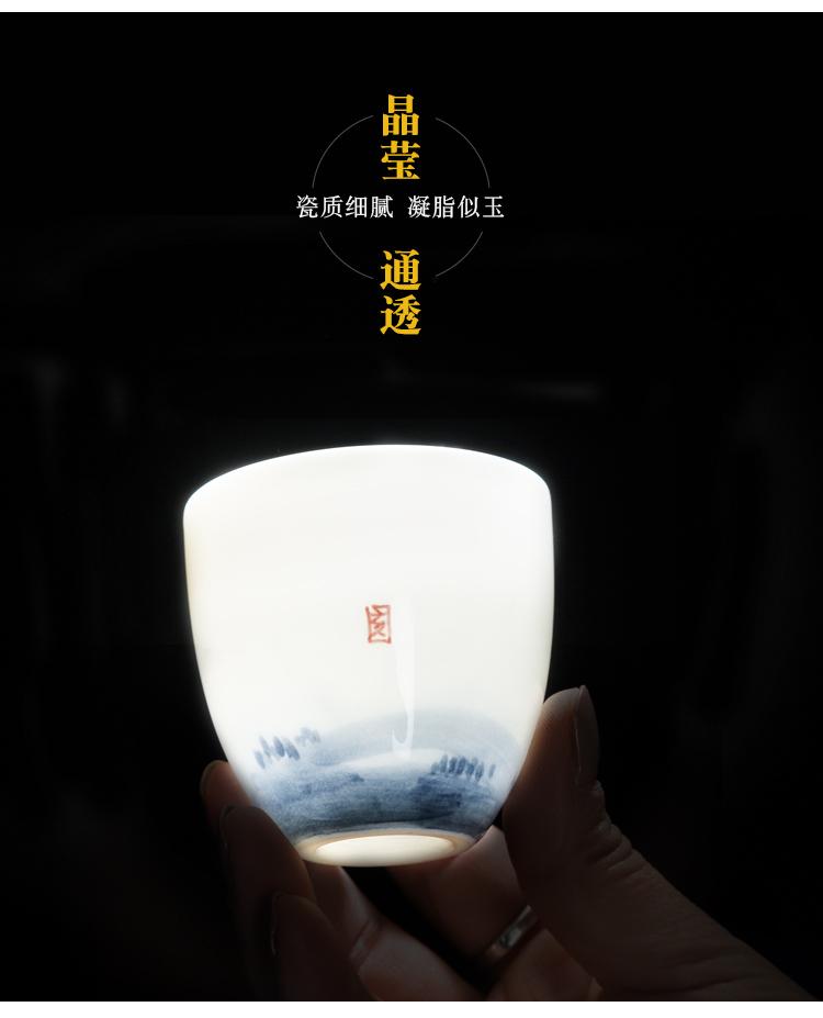 Poly real (white porcelain hand - made lotus masters cup a single scene of household ceramics kung fu tea tea sample tea cup