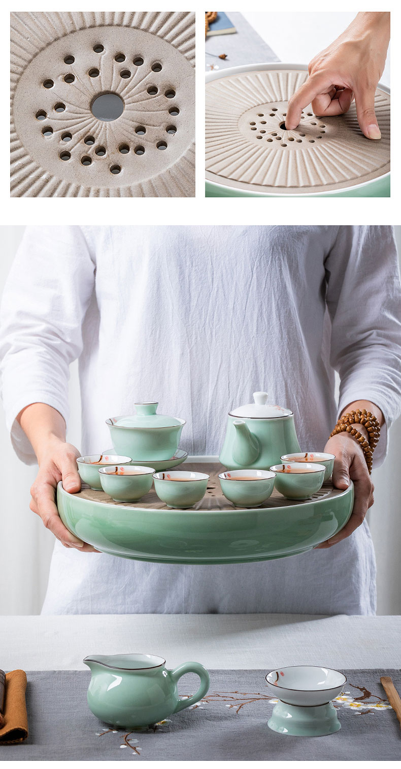 Kung fu tea set suits for domestic high - grade office tea tea tray lid composite ceramic bowl of tea cups ship small sets