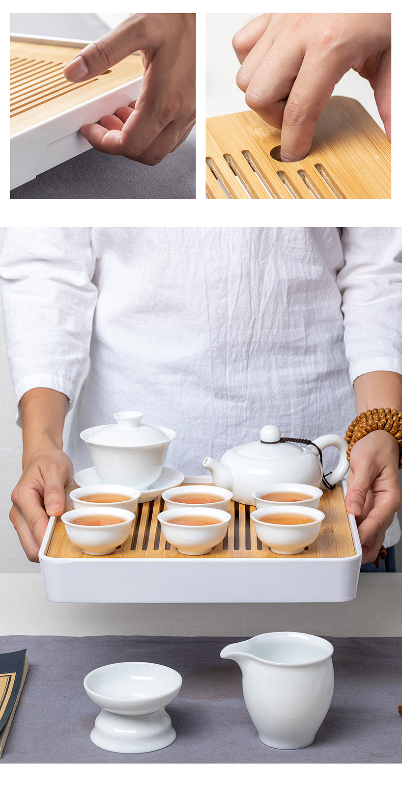 White porcelain ceramic tea set tea service suit household contracted high - end office lid bowl of small sets of kung fu tea cups