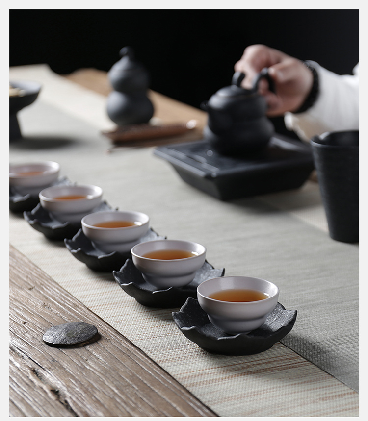 Poly real JingChan wind black glaze thick clay ceramic cups Japanese stone kung fu tea master sample tea cup cup personal single CPU