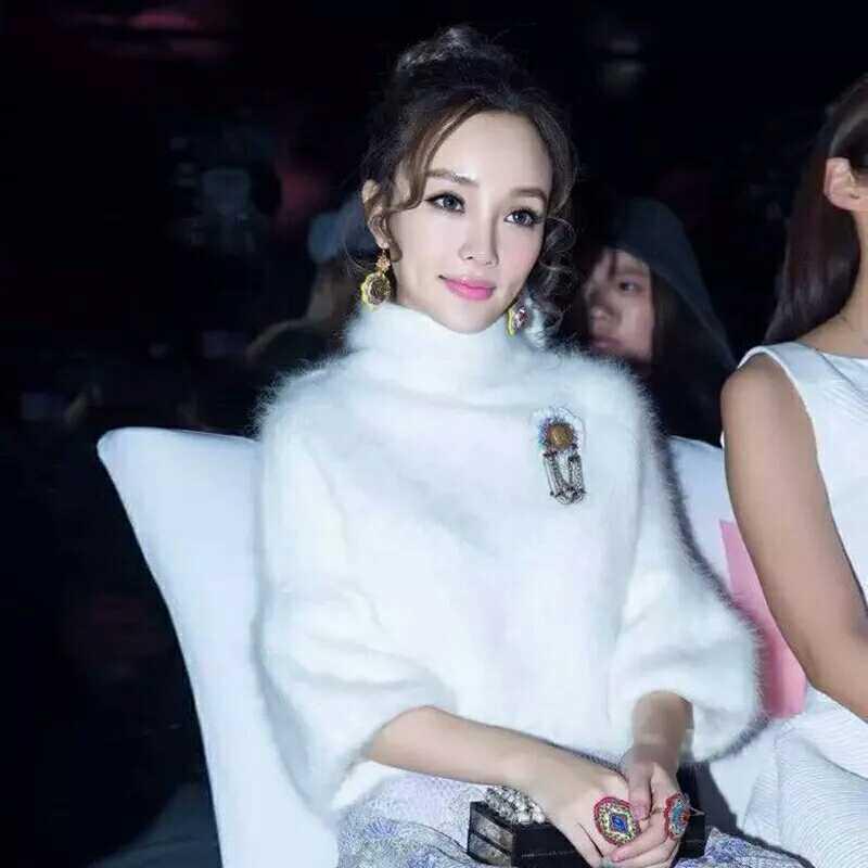欧洲站香港韩版衣服李小璐同款女装灯笼袖针织衫水貂绒高领毛衣