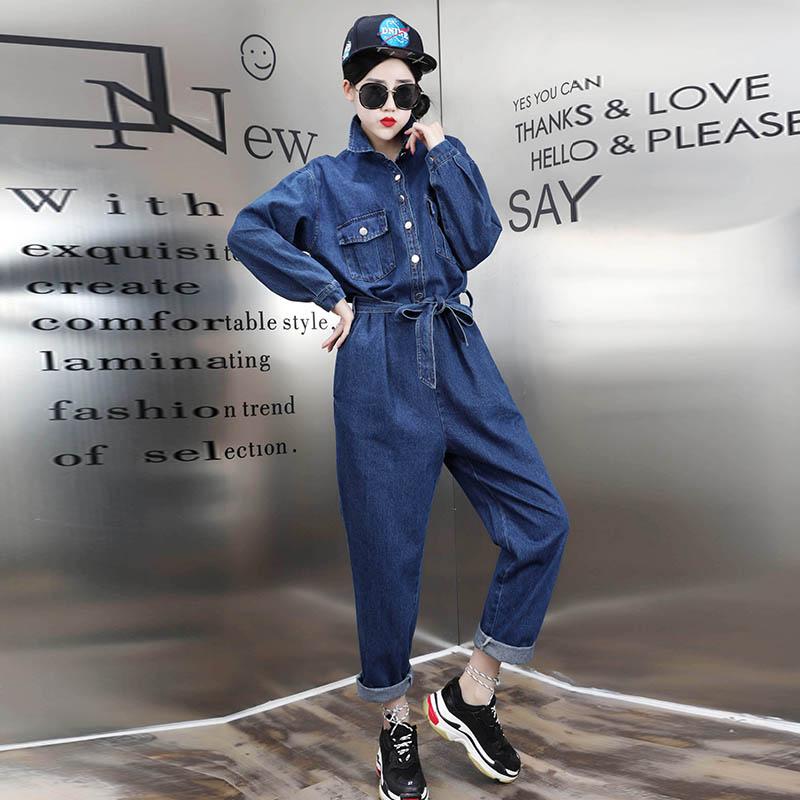 Bf ветер механическая обработка одежда ковбой сиамский длинные брюки рукав один женская одежда жир mm женский большой размер толще и больше 2018 новый