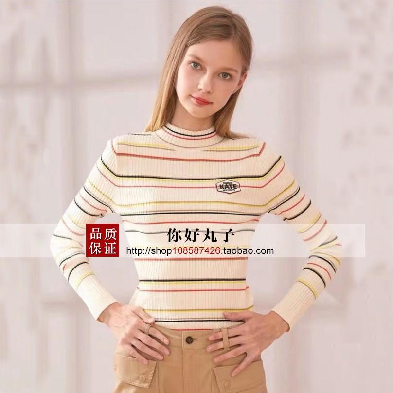 2019秋冬新款柜柜小熊高领修身半打底针织衫条纹衫女T-TTKW94901A