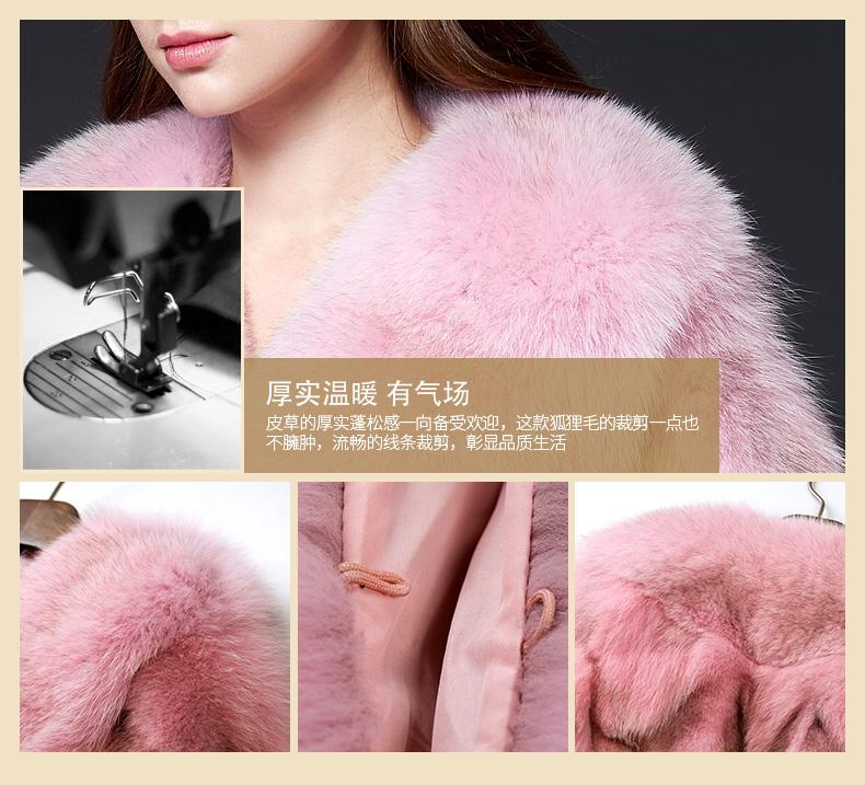 Mulee mu li mùa thu và mùa đông nạp với mới châu Âu và Mỹ phong cách thời trang đoạn ngắn bảy- điểm tay áo con cáo lông cỏ nữ áo khoác