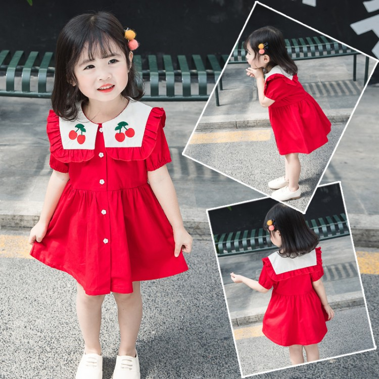 2 Summer female baby dress Korean version 1-3 years 4 girls cute cherry embroidery foreign style cotton princess skirt 5
