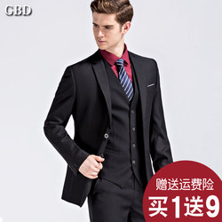Suit suit men's Korean style slim small suit three-piece professional formal wear groomsmen costume groom wedding dress