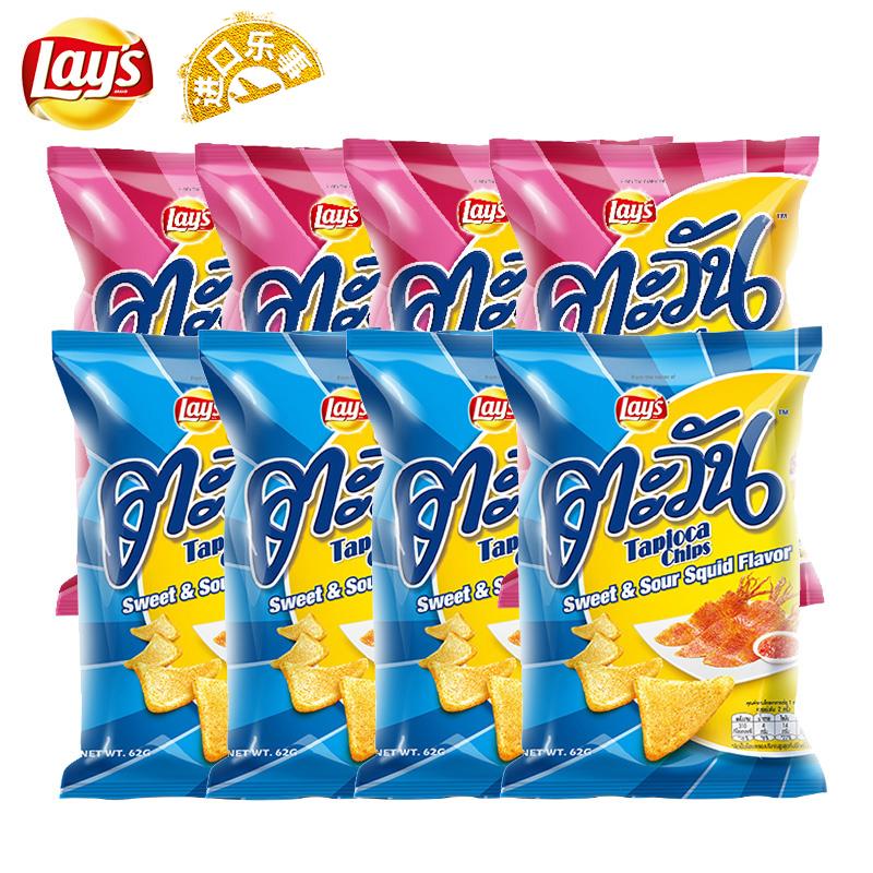泰国进口 乐事 嗒嗒玩 木薯片 62g*8包 2种口味