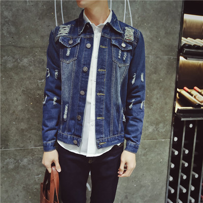 Men's autumn and spring new Korean Slim denim jacket jacket men's youth long-sleeved shirt tide men's clothing