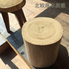 Nordic wood pier solid wood stump low stool coffee table wood stump edge creative wood stool shoe stool special shaped bedside table