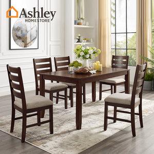 Ashley爱室丽美式小户型实木餐厅餐桌椅组合四人六人家用吃饭桌子