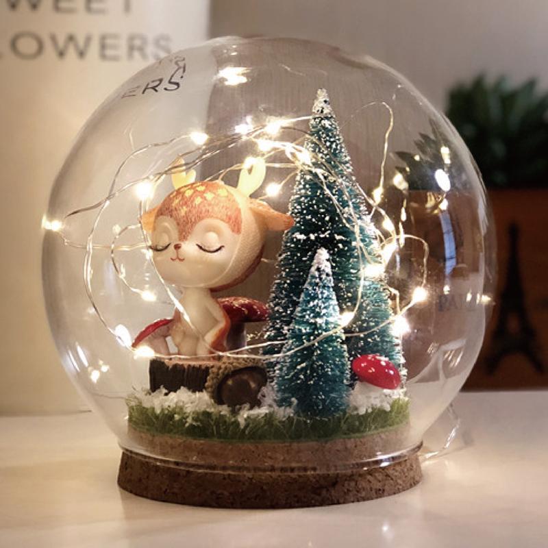 小鹿圣诞老人情侣玻璃水晶球小夜灯DIY手工材料圣诞节情人节礼物