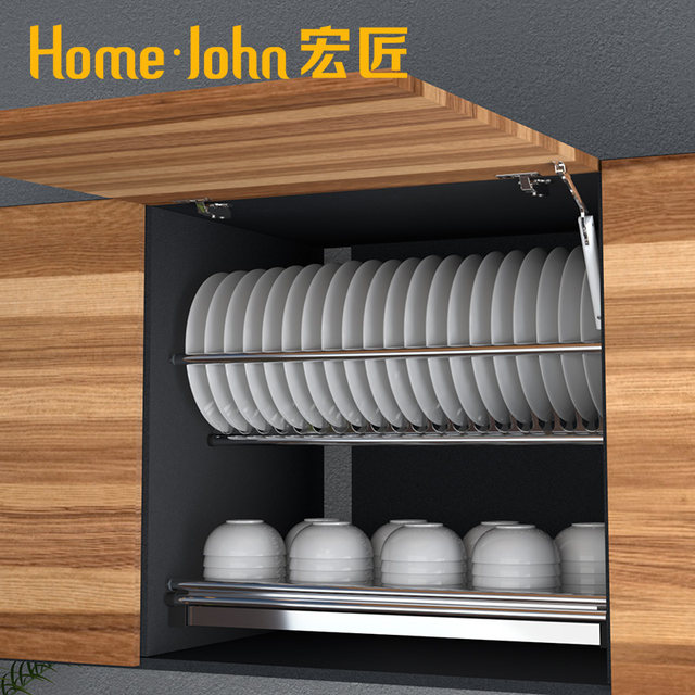 Kitchen Cabinet Built In Stainless Steel Bowl Disc Rack Cabinet Drainage Drying Bowl Tray Kitchen Storage