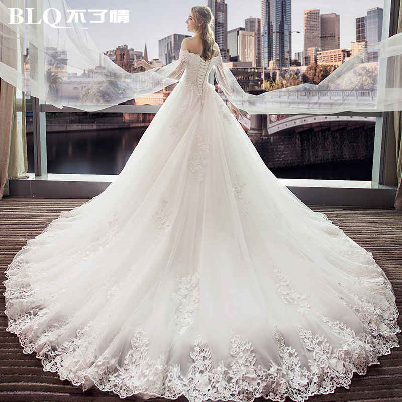c3327e1e411 Wedding dress 2019 new bride word shoulder trailing princess dream big size  high waist pregnant woman cover pregnant belly was thin