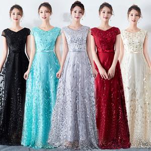 Evening dress prom gown Chorus dress girl long dress Student chorus performance dress chorus dress female long evening dress