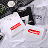 Short-sleeved t-shirt men's summer dress Korean trend student round neck cotton loose summer men's black and white solid color clothes